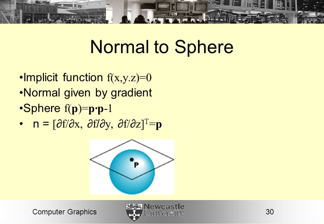 Normal to Sphere Implicit function f(x,y.z)=0 Normal given by gradient