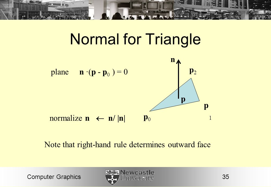 Normal for Triangle p1 n p2 plane n ·(p - p0 ) = 0 p p0