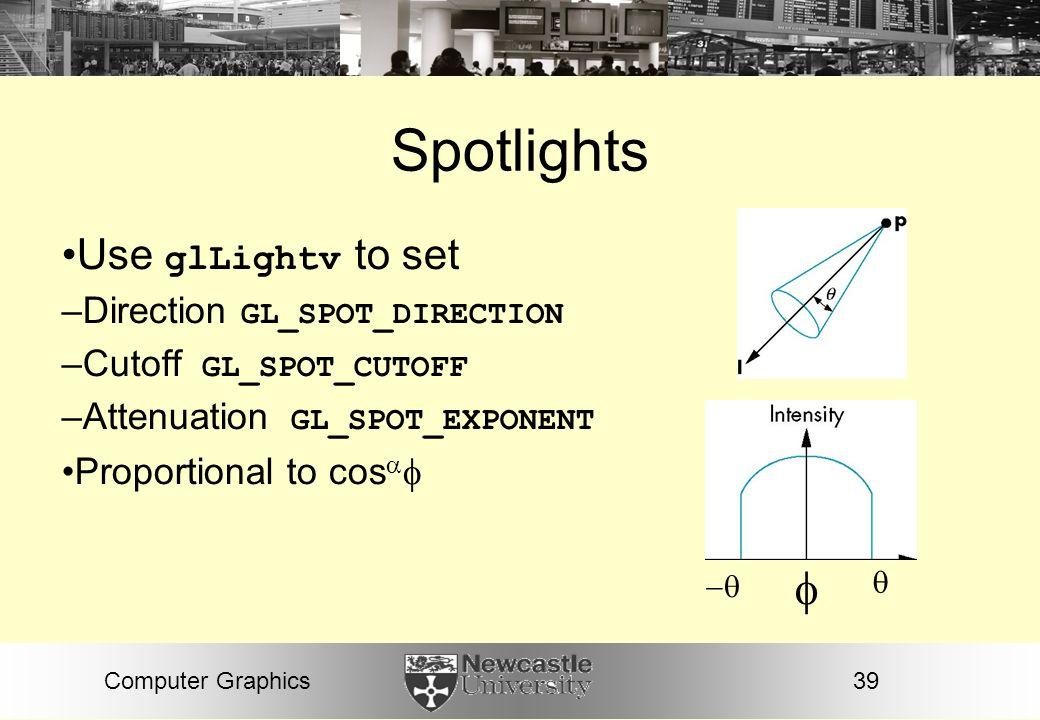 Spotlights  Use glLightv to set Direction GL_SPOT_DIRECTION