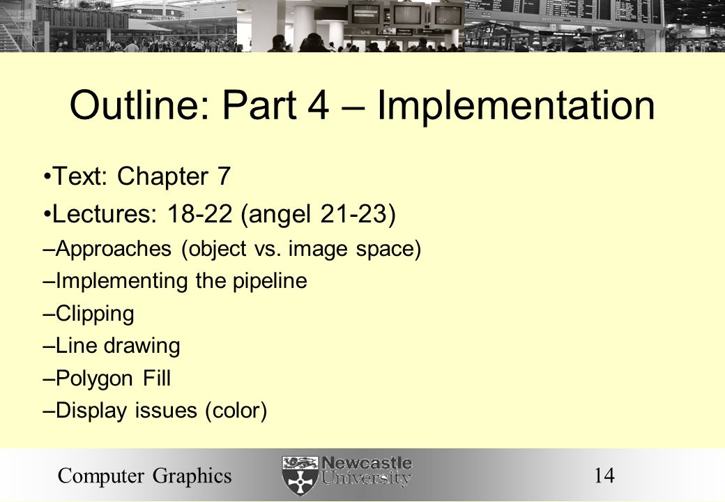 Outline: Part 4 – Implementation