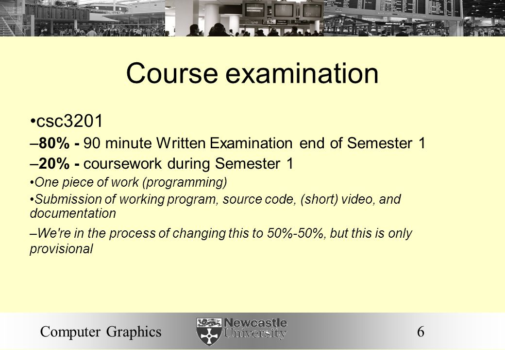 Course examination csc3201