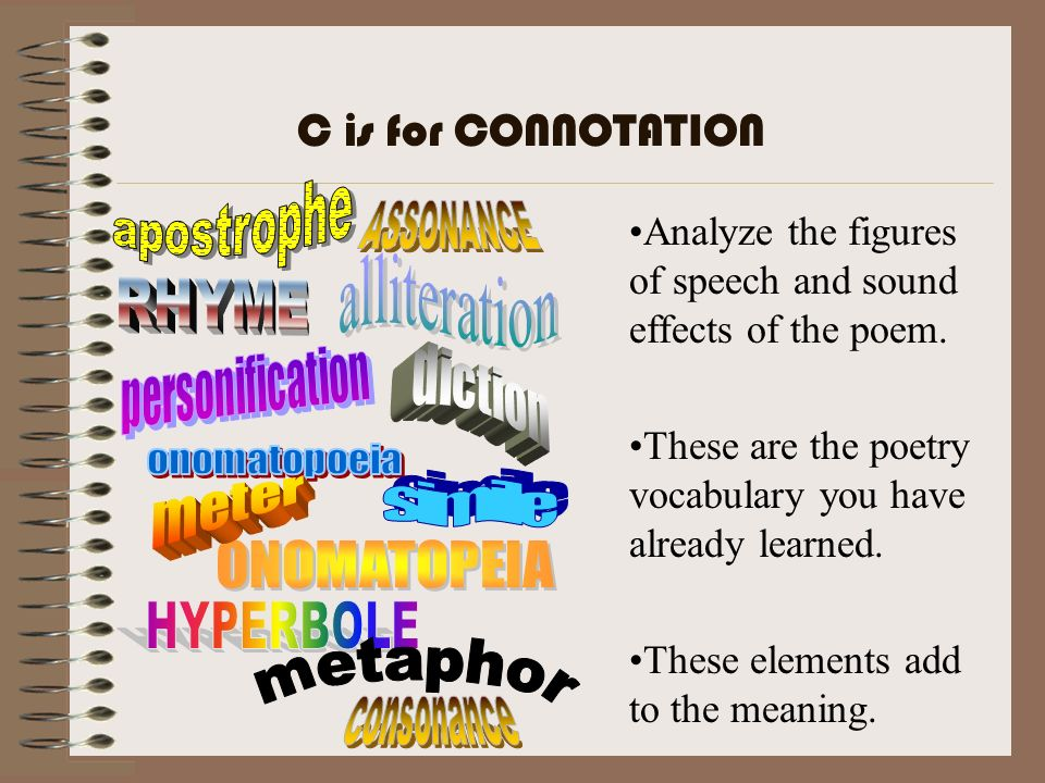 C is for CONNOTATION apostrophe. ASSONANCE. Analyze the figures of speech and sound effects of the poem.