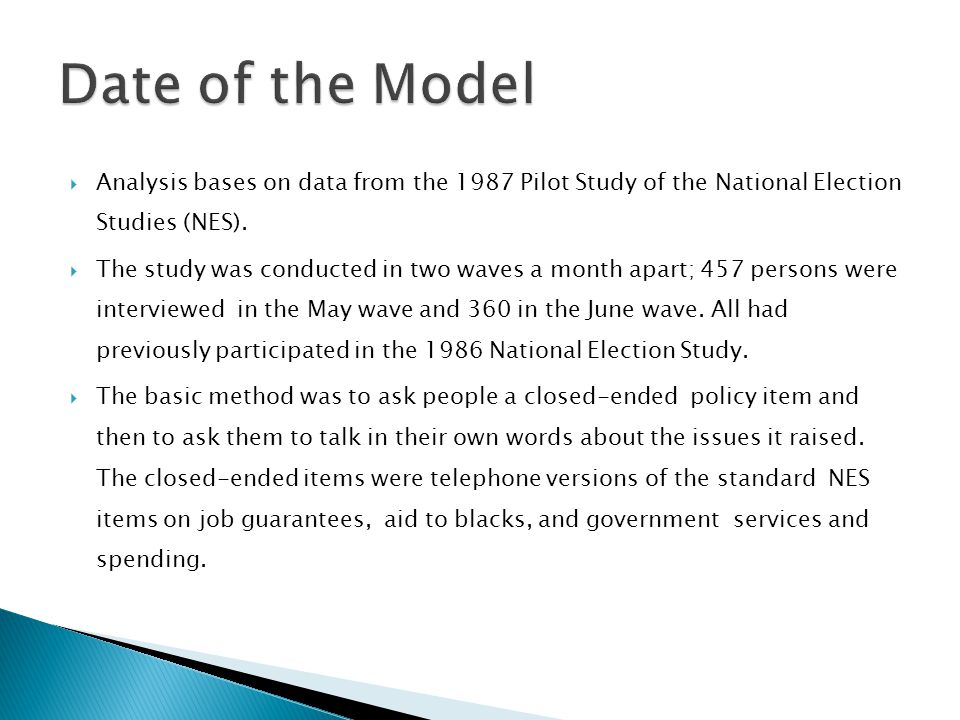 Date of the Model Analysis bases on data from the 1987 Pilot Study of the National Election Studies (NES).