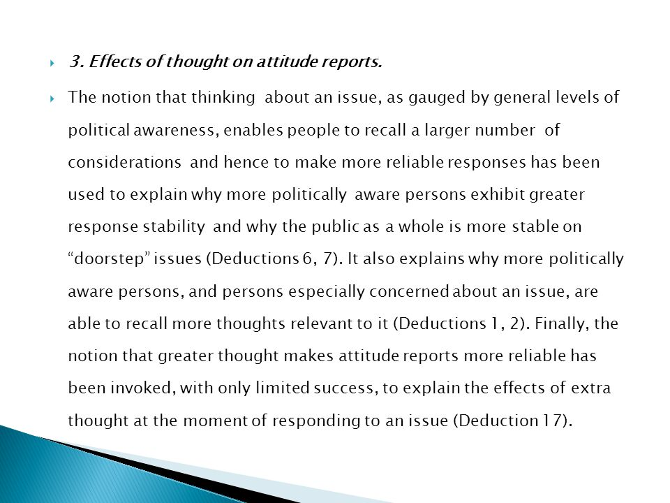 3. Effects of thought on attitude reports.