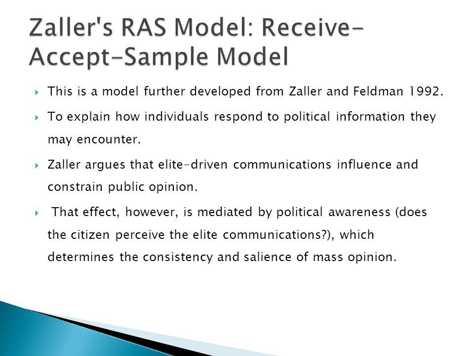 Zaller s RAS Model: Receive-Accept-Sample Model