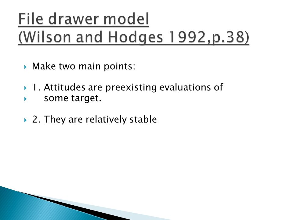 File drawer model (Wilson and Hodges 1992,p.38)