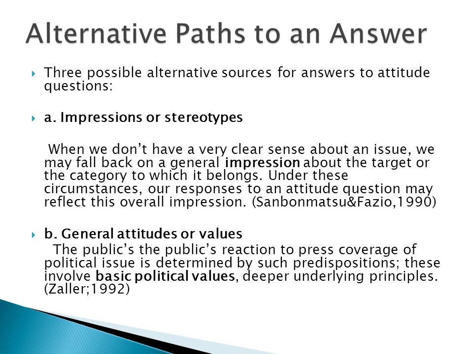 Alternative Paths to an Answer