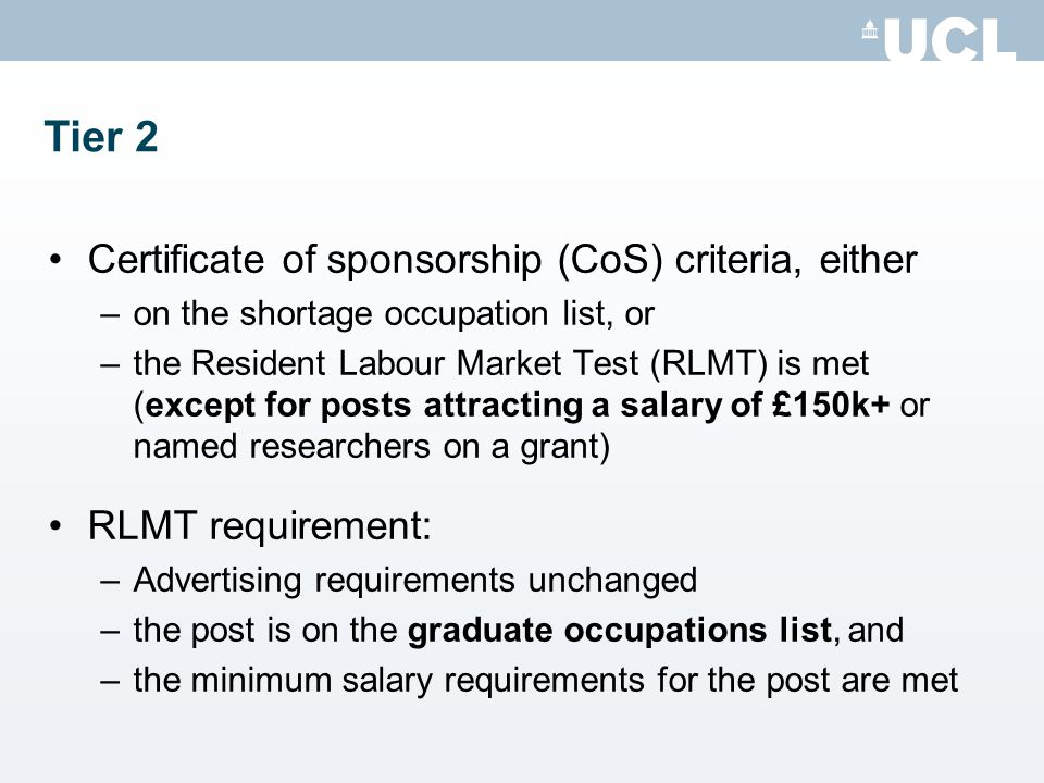 Tier 2 Certificate of sponsorship (CoS) criteria, either