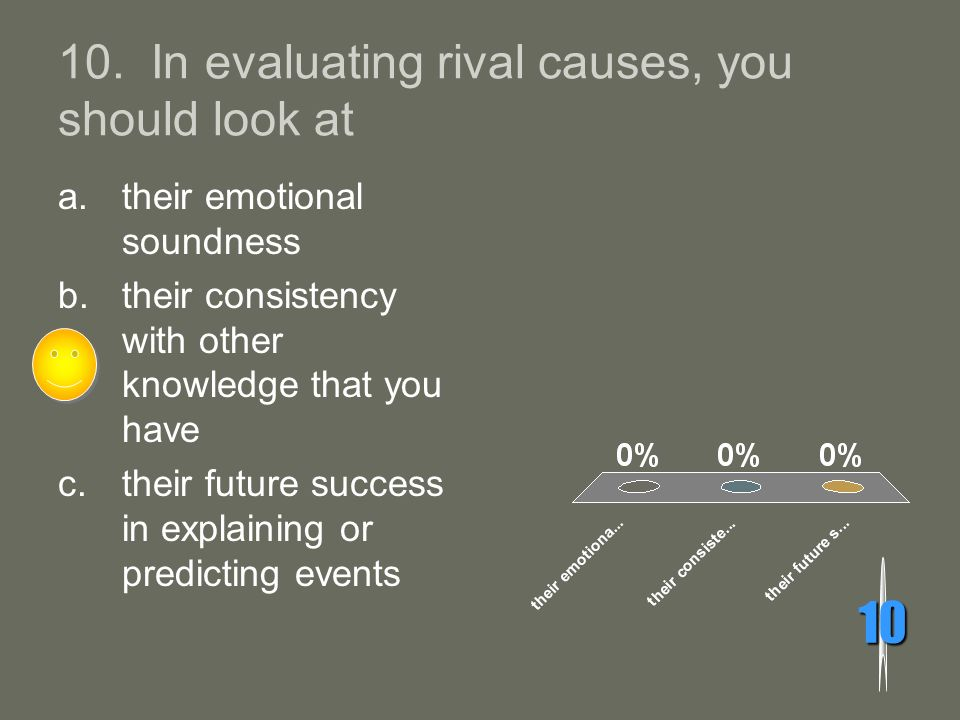 10. In evaluating rival causes, you should look at