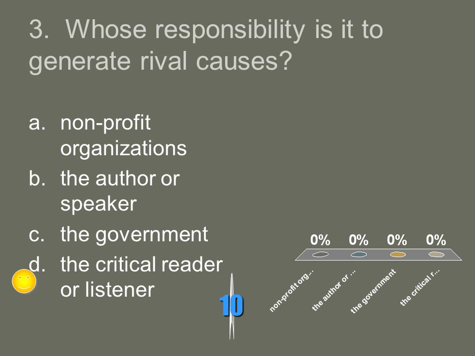 3. Whose responsibility is it to generate rival causes