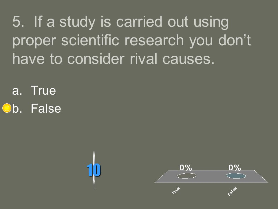 5. If a study is carried out using proper scientific research you don't have to consider rival causes.