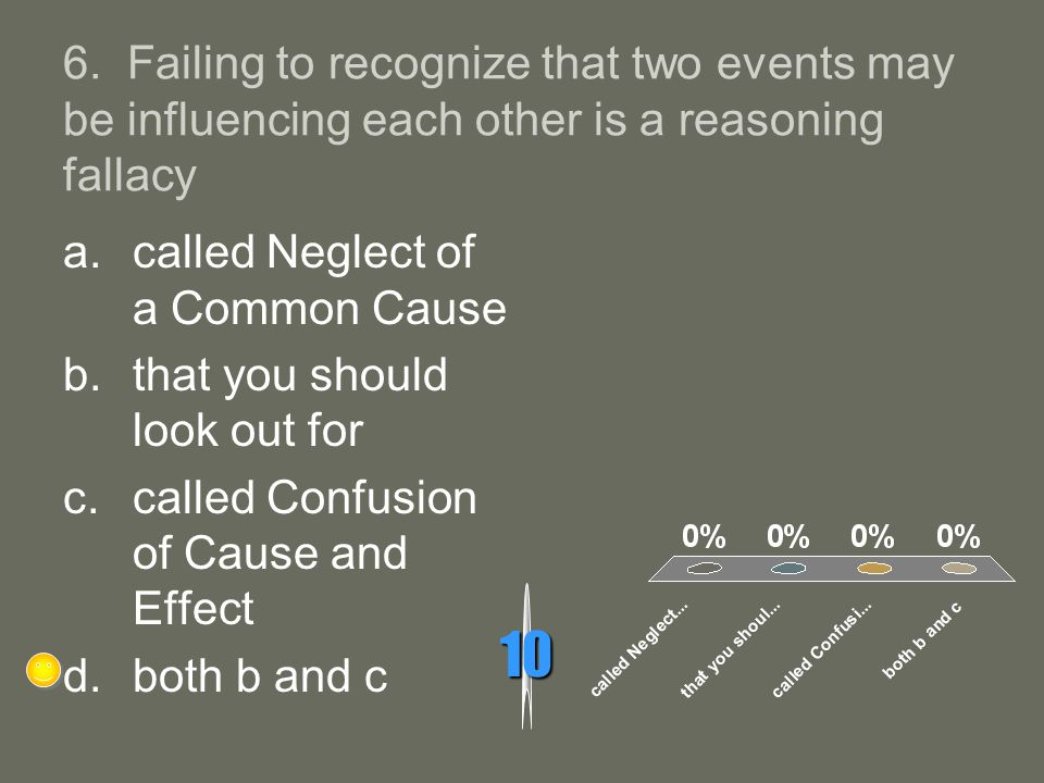 6. Failing to recognize that two events may be influencing each other is a reasoning fallacy
