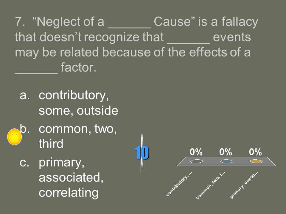 7. Neglect of a ______ Cause is a fallacy that doesn't recognize that ______ events may be related because of the effects of a ______ factor.