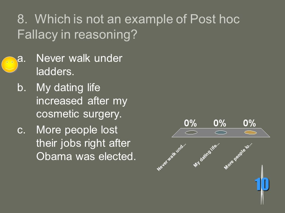 8. Which is not an example of Post hoc Fallacy in reasoning