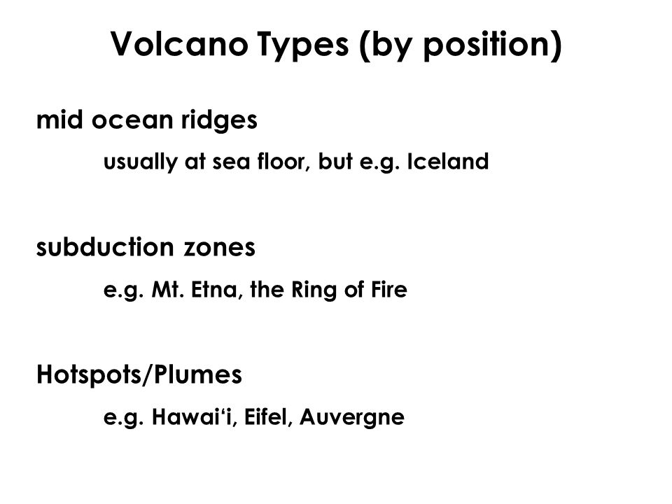 Volcano Types (by position)