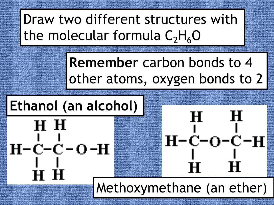 Draw two different structures with the molecular formula C2H6O