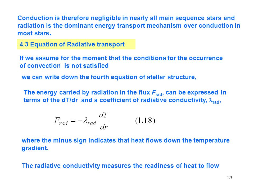 4.3 Equation of Radiative transport