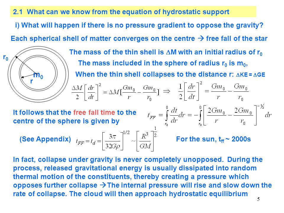 m0 2.1 What can we know from the equation of hydrostatic support