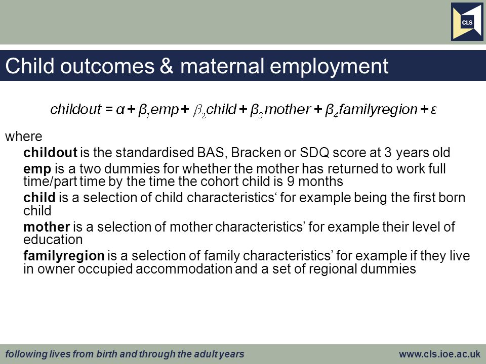 Child outcomes & maternal employment