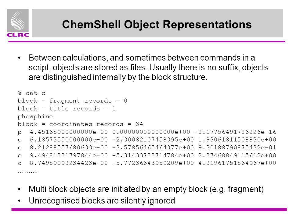 ChemShell Object Representations