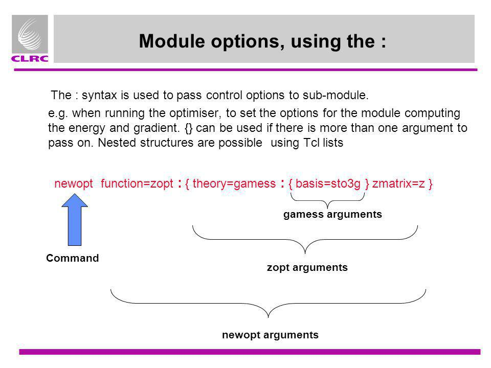 Module options, using the :