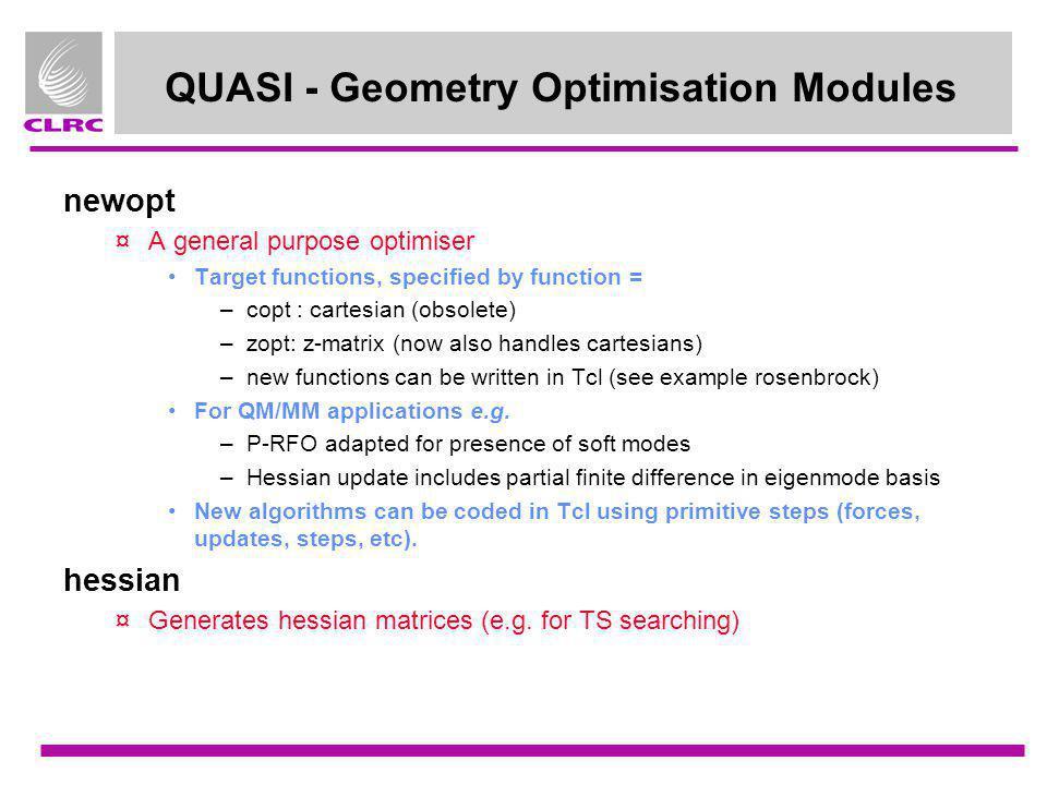 QUASI - Geometry Optimisation Modules