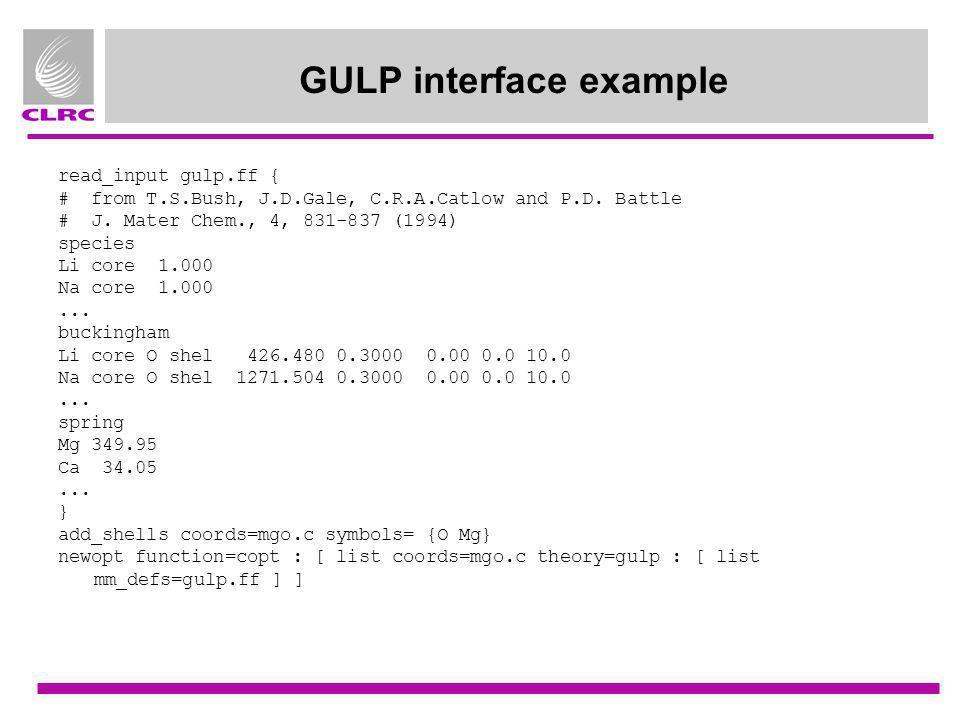 GULP interface example