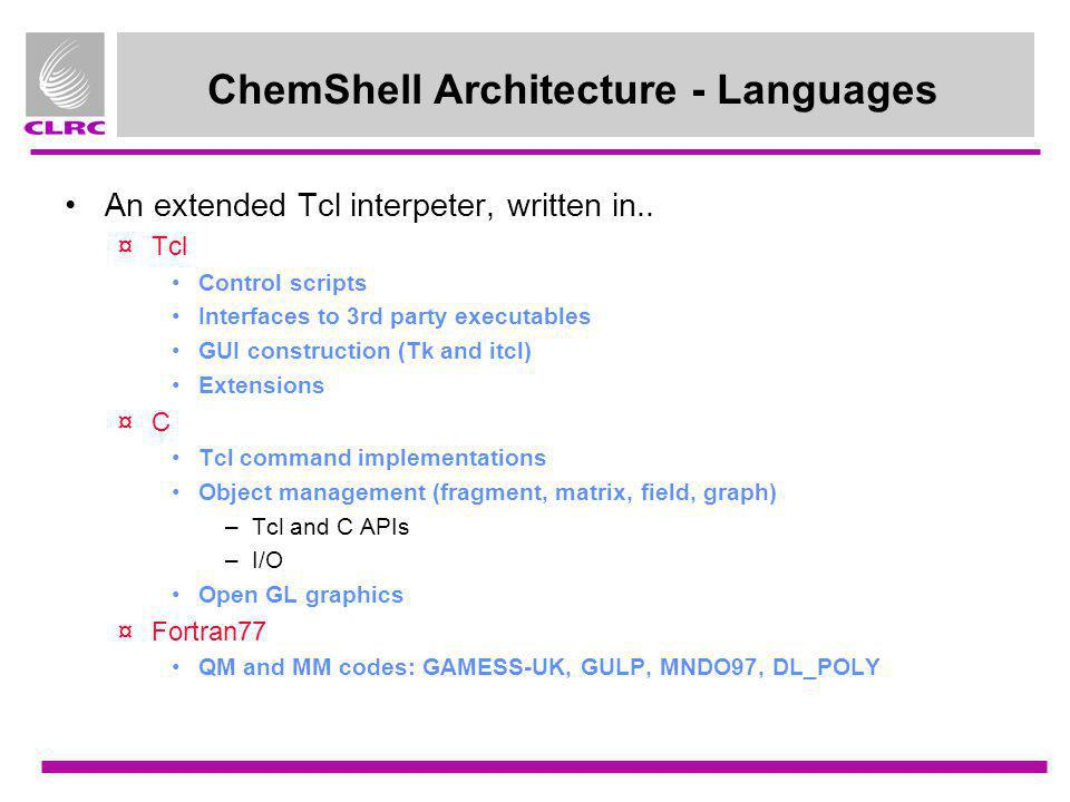 ChemShell Architecture - Languages