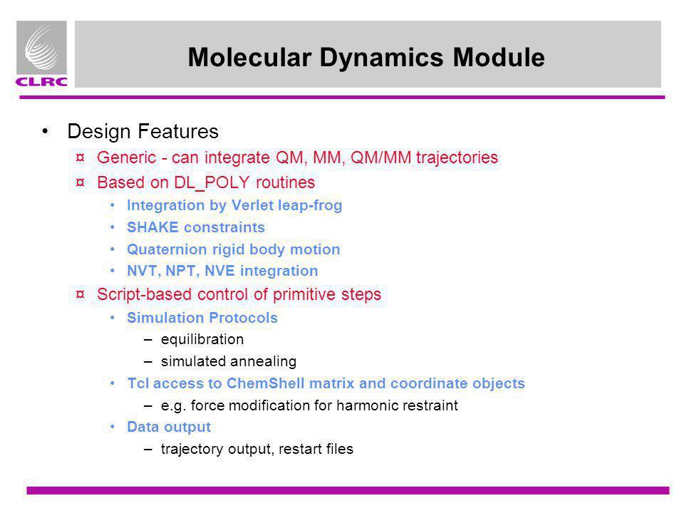 Molecular Dynamics Module