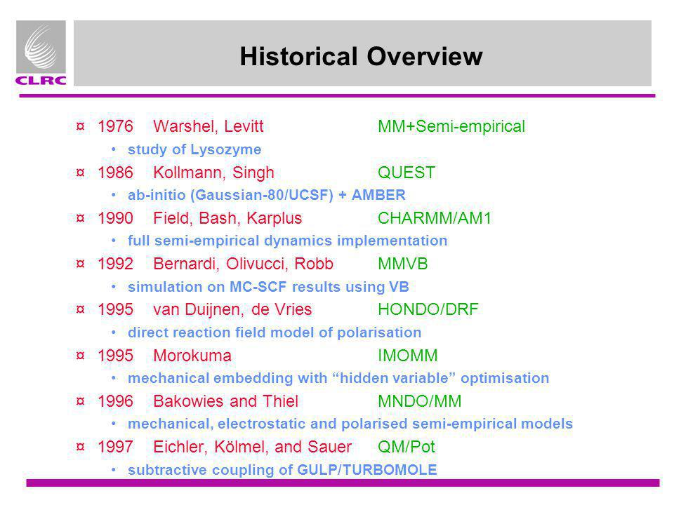 Historical Overview 1976 Warshel, Levitt MM+Semi-empirical