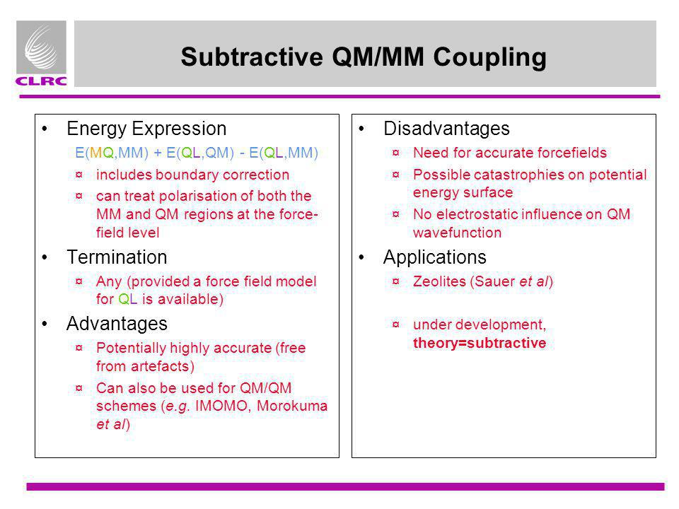 Subtractive QM/MM Coupling