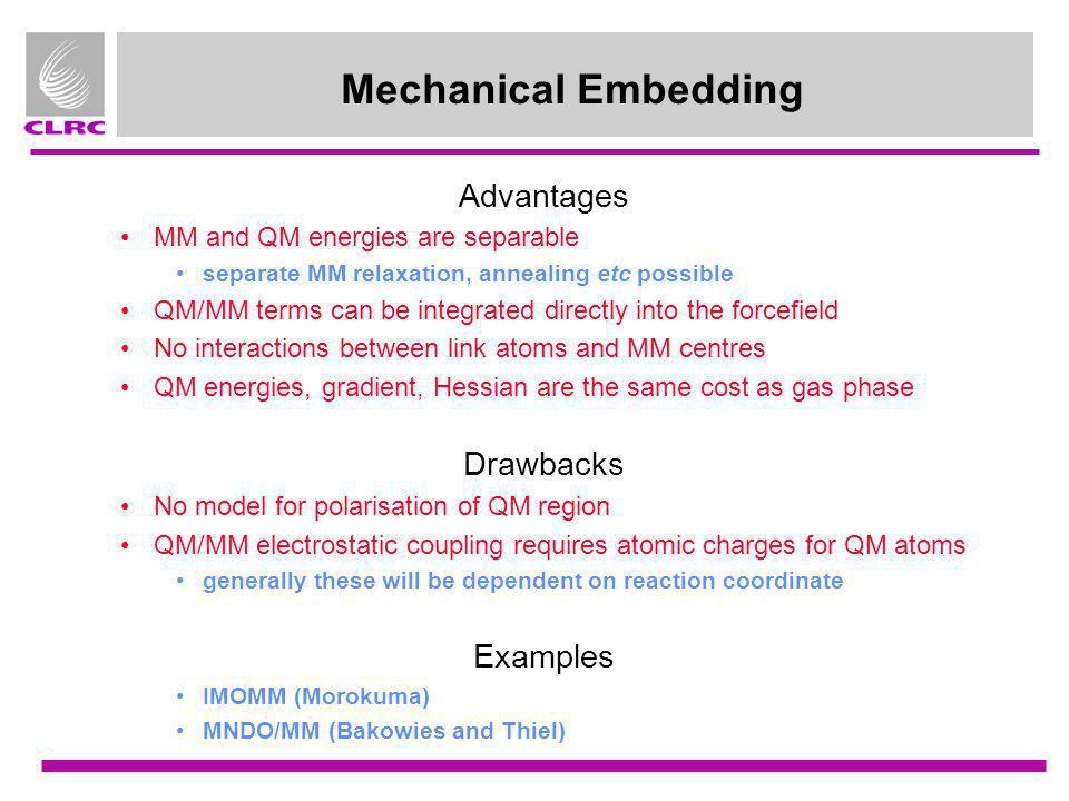 Mechanical Embedding Advantages Drawbacks Examples