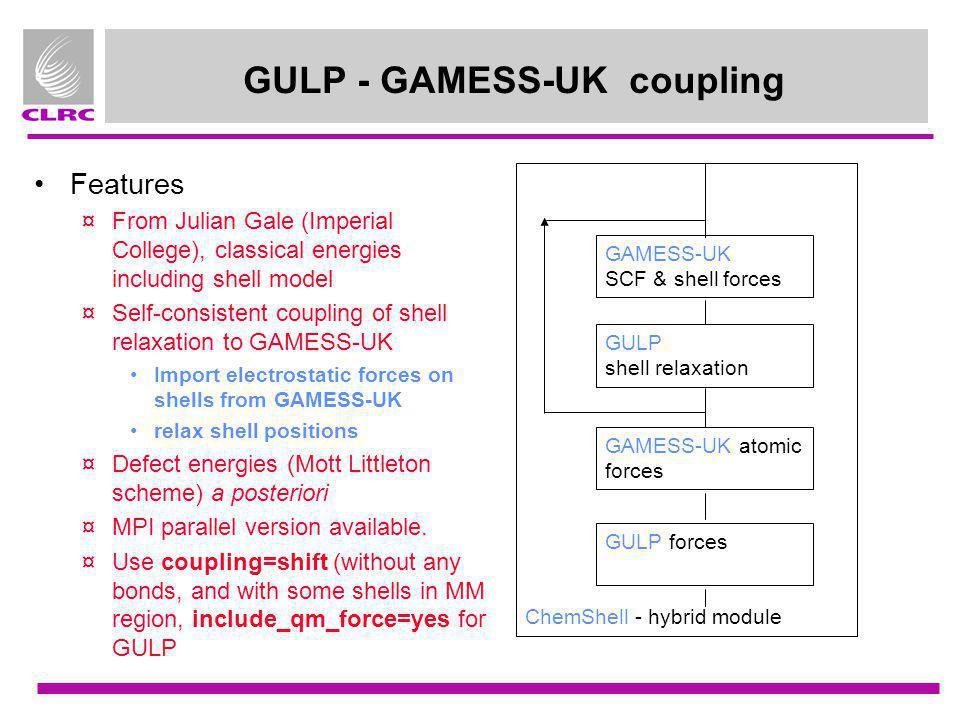 GULP - GAMESS-UK coupling