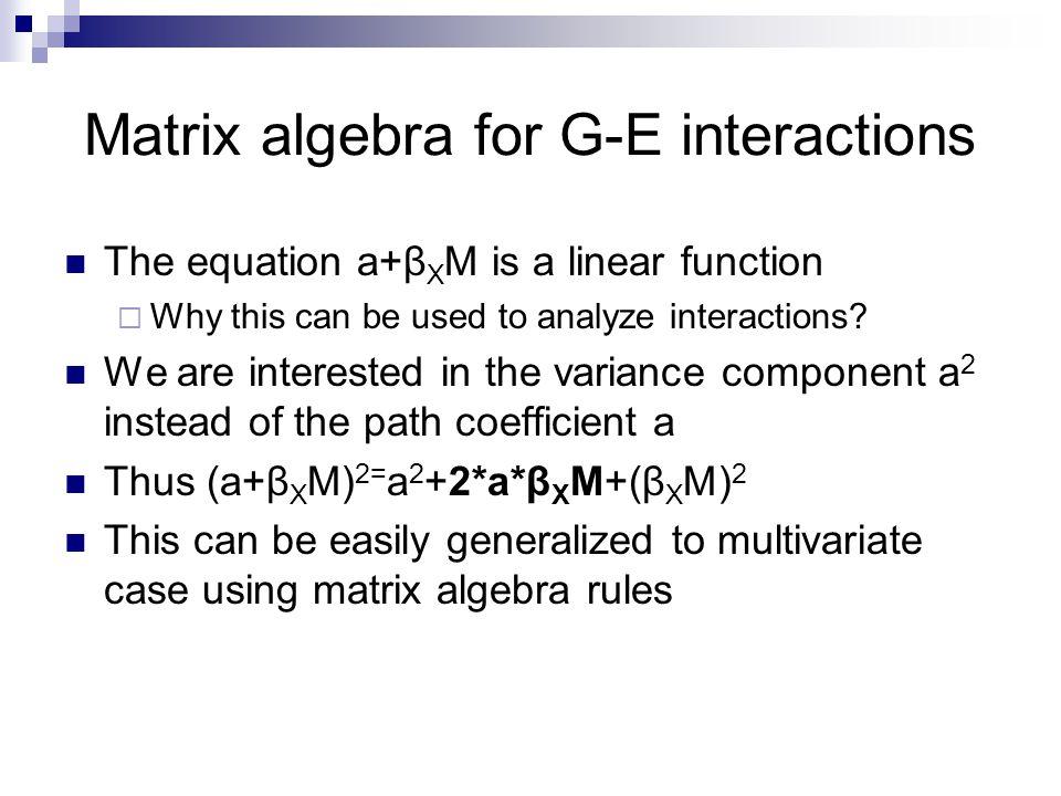 Matrix algebra for G-E interactions