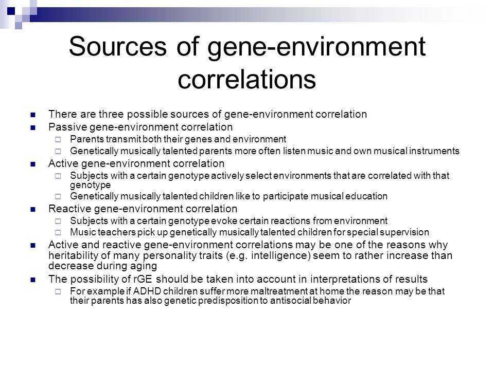 Sources of gene-environment correlations