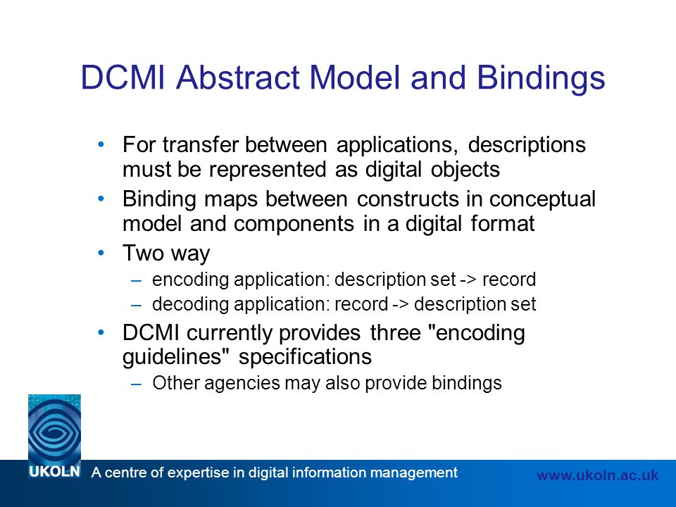 DCMI Abstract Model and Bindings