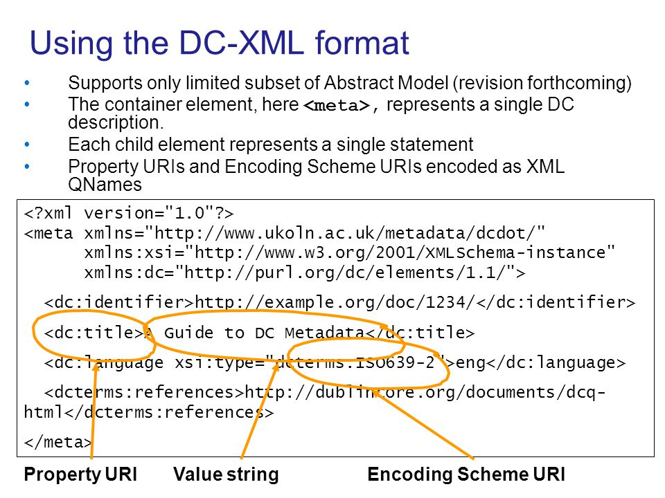 Using the DC-XML format
