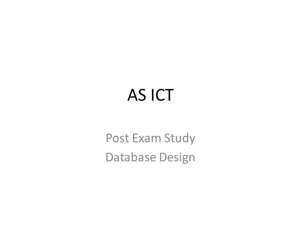 Post Exam Study Database Design