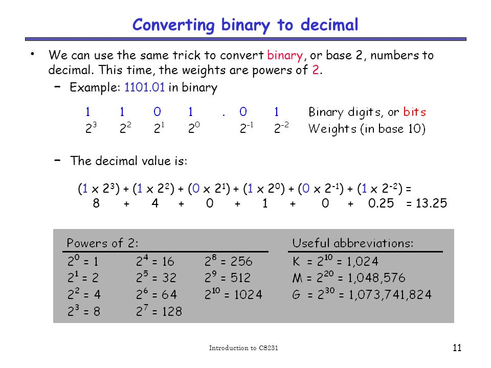 Binary addition example worked out