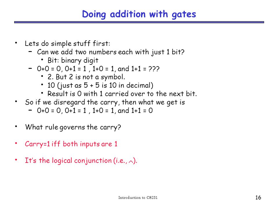 Doing addition with gates