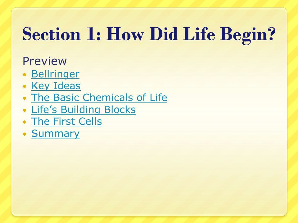Section 1: How Did Life Begin