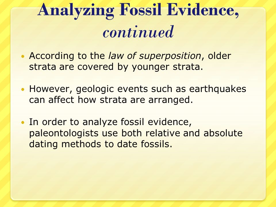 How Are Dating Methods Used To Analyze Fossil Evidence
