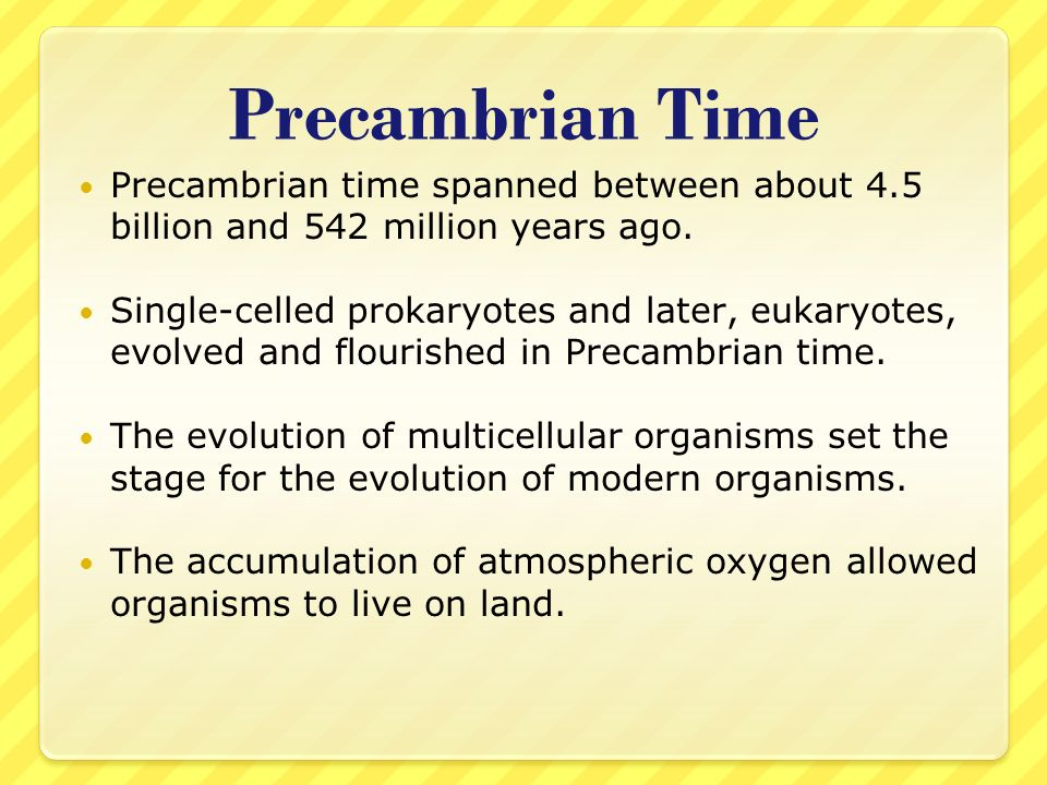 Precambrian Time Precambrian time spanned between about 4.5 billion and 542 million years ago.