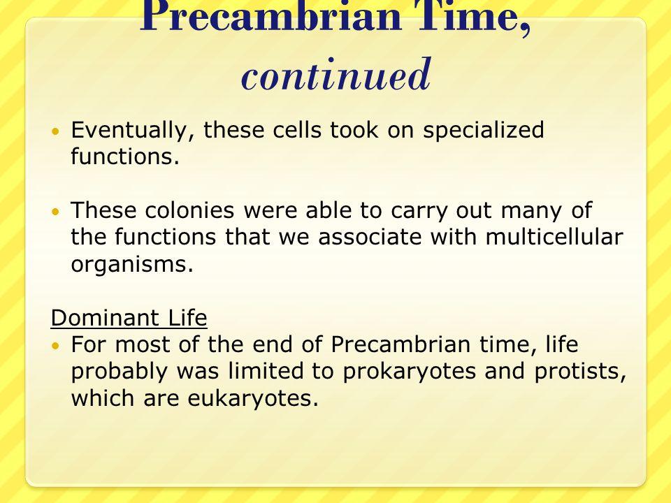 Precambrian Time, continued