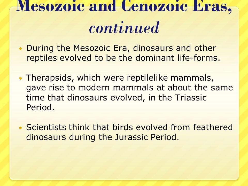 Mesozoic and Cenozoic Eras, continued