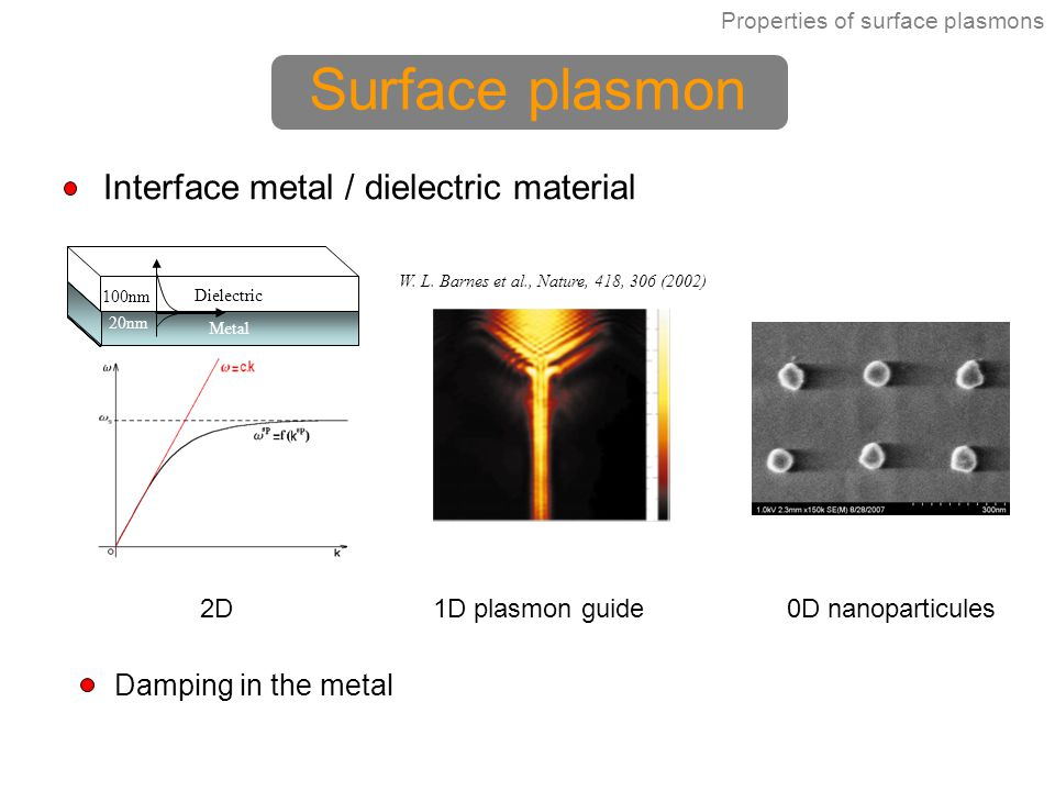 Surface plasmon Interface metal / dielectric material