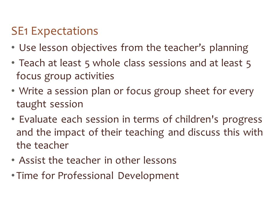 SE1 Expectations Use lesson objectives from the teacher's planning