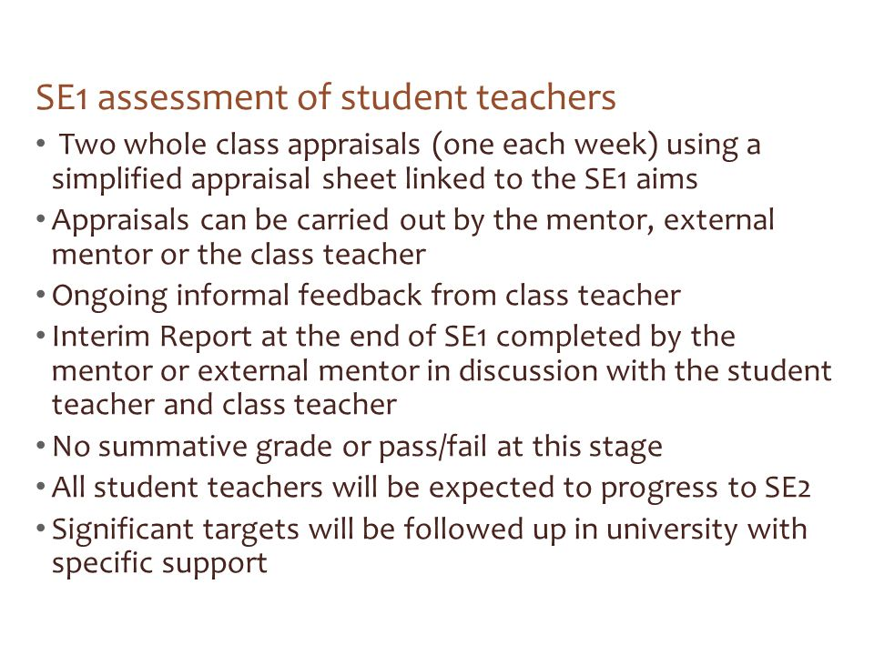 SE1 assessment of student teachers