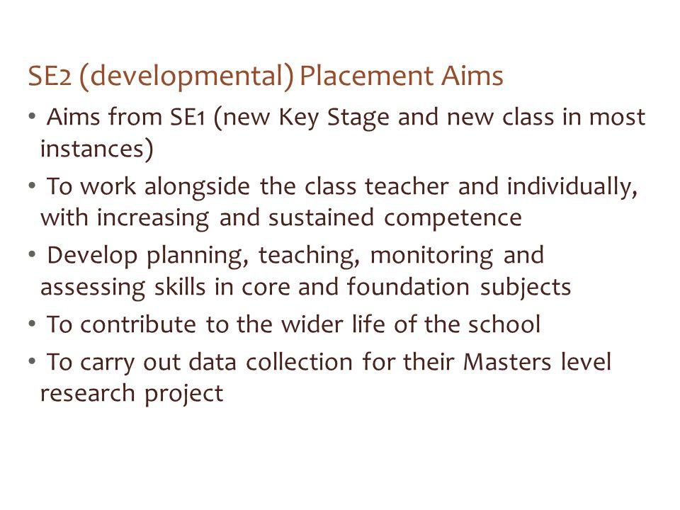 SE2 (developmental) Placement Aims