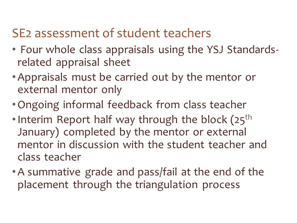 SE2 assessment of student teachers